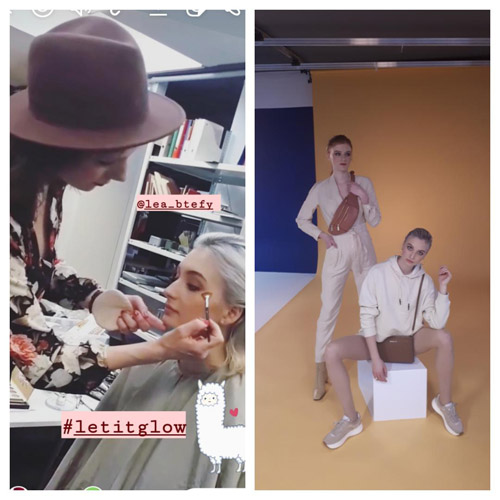 Bildcollage links: Stefanie Szekies schminkt ein Model fürs auf dem rechten Bild zu sehende Shooting